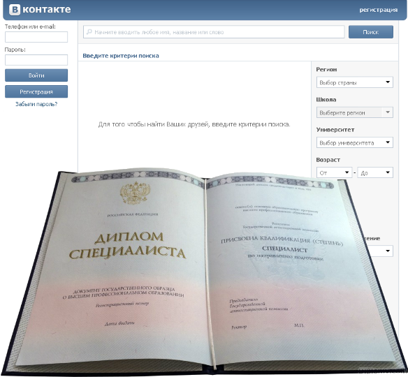 Checking diploma in social networks